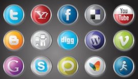 Social Media Icons - facebook, twitter, skype, aol, vimeo, youtube, etc.